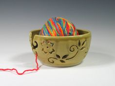 Ceramic Yarn Bowl  Knitting Bowl  Crochet Bowl  by GlyntPottery, $40.00
