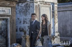 """The Vampire Diaries -- """"The Originals"""" -- Pictured (L-R): Daniel Gillies as Elijah and Daniella Pineda as Sophie -- Image Number: VD420d_0670ra.jpg -- Photo: Skip Bolen/The CW -- © 2013 The CW Network, LLC. All rights reserved."""