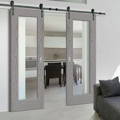 This particular blue interior barn doors is an extremely inspiring and fabulous idea Internal Sliding Doors, Barn Style Sliding Doors, Sliding Door Track, Sliding Door Systems, Sliding Glass Door, Traditional Interior, White Doors, Ceiling Height, Kitchen