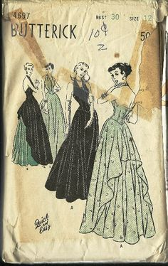 Vintage Butterick Evening Gown Pattern 1940's by TheIDconnection, $35.00