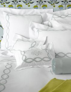Applique chain pattern on coverlets, duvet covers, sheets and shams with our Olivia applique monogram. http://bellalino.com/Matouk%20Luxury%20Linens/providence%20bed%20linens.htm