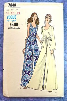 Vogue 7840  Vintage 1970s Womens Jumpsuit Pattern by Fragolina, $32.00