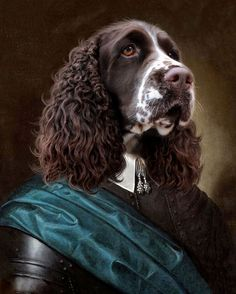 Royalist Springer Spaniel Print by OhHelloCrow on Etsy Springer Dog, English Springer Spaniel, Dog Canvas Painting, Dog Artwork, Collage Techniques, Spring Nail Colors, Dog Portraits, Pet Clothes, Animals And Pets