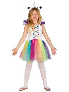 Déguisement miss licorne fille : Ce déguisement de Miss Licorne est pour fille et comprend une robe et une coiffe. La robe présente deux parties. Une partie top en tissu froncé blanc satin avec un faux...