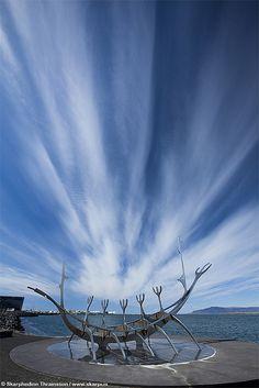 sky over The Sun Voyager in Reykjavik, Iceland