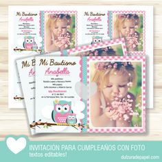Invitacion Buho nena para imprimir con foto personalizada.