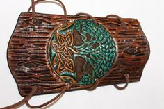 Leather Hand Tooled Archery Arm guard Tree by nathansleatherworks, $34.50