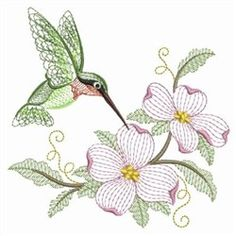 Floral Rippled Hummingbird embroidery design from embroiderydesigns.com