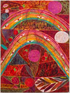 """Alexander Tovborg's """"Eternal Feminine,"""" at Nicelle Beauchene, is a series of eye-catching paintings on felt, each featuring two rainbows."""