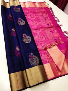 Blue Silk Saree, Kanjivaram Sarees Silk, Wedding Silk Saree, Soft Silk Sarees, Simple Saree Designs, Half Saree Designs, Fancy Blouse Designs, Wedding Saree Blouse Designs, Pattu Saree Blouse Designs