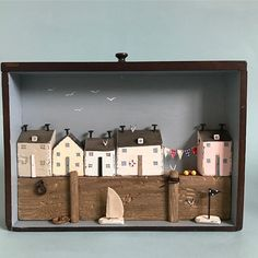 Sunny harbour in a vintage engineering drawer. #lorainespick #shabbydaisies #shabbychic #vintagedrawer#harbour #nautical #driftwoodcottage #driftwoodart #rusticart #rustic #drawer#sailboats