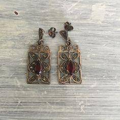 Garnet Marcasite Drop Earrings, 925 Sterling Silver Vintage Dangle Earrings, Silver & Red Navette or Marquise Cut Pierced Earrings - T46 by ReTHINKinIt on Etsy