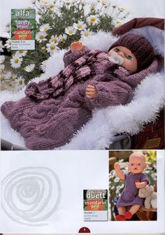 Album Archive - Dukketøj til Baby Born 2 - Ingelise Knitting Dolls Clothes, Baby Doll Clothes, Doll Clothes Patterns, Knitted Doll Patterns, Knitted Dolls, Baby Knitting Patterns, Baby Born, Album, Doll Accessories