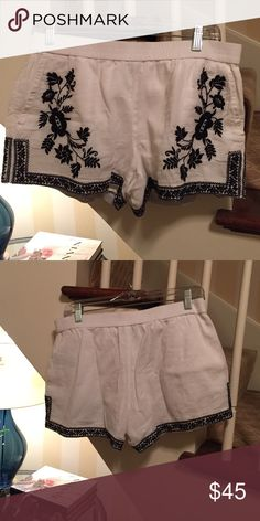 J.Crew linen shorts White linen shorts with navy blue embroidery J. Crew Shorts