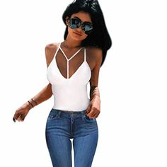 Mchoice Women Bra Crop Bustier Tops Tank Top Blouse TShirt L White -- Be sure to check out this awesome product.