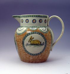 SPONGE DECORATED PITCHER IN PRATT COLORS WITH RABBIT