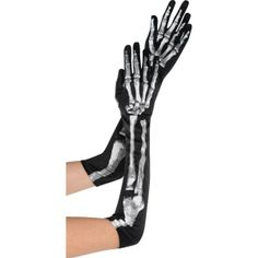 Adult Long Skeleton Gloves. I see those and would probably hot glue or stitch silk roses and marigolds on the gloves for Day of the Dead inspiration.