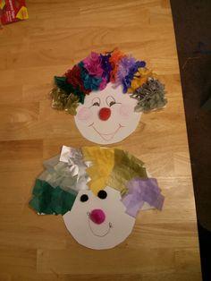 Top for older preschooler, bottom easier version. Circus theme clown preschool..Paper plate and tissue paper.