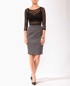 Polka Dot Pencil Skirt | FOREVER21 - 2000042884