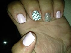Gel Mani: Baby pink with silver sparkle accent nail and white/light gray chevron