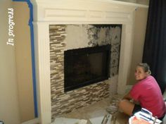 glass tile fireplace....anything to cover our ugly white brick!