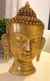Brass Buddha Wall Mask , Golden Color , 15 inches