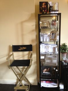 How cute is this branded Director's chair setting of the display cabinet of all these treats!