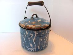 Hey, I found this really awesome Etsy listing at https://www.etsy.com/listing/214655535/blue-swirl-graniteware-berry-bucket-with