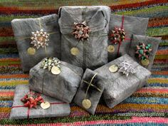 Gift wrapping using recycled materials