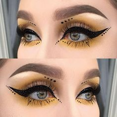 Black glitter liner, yellow and dots ✨ I used @meltcosmetics eyeshadow neon from the radioactive stack   @inglot_sweden eyeliner gel 77   @makeupstore glitter black star ( it's an old glitter and I finally found my little jar that I had like two months ago. Happiness )   @sweedlashes falsies in @idasjostedt edition   @illamasqua highlight in OMG   @anastasiabeverlyhills dipbrow pomade in taupe ✨ #vegas_nay #wakeupandmakeup #fiercesociety #dressyourface #hudabeauty #makeupartistsworldwide ...