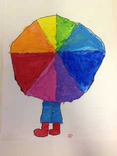 Everything looks better in color, right?  Even a rainy day!!  2nd grade has been learning about the color wheel!  We've discussed analogous...