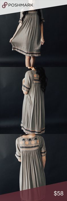 Embroidered midi dress - olive 100% Rayon 100% Cotton. Gathering at bust. Elbow length sleeves. I am wearing a size small. Small (0-4) Medium (4-8) Large (8-12) Dresses Midi