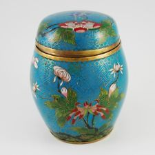 Vintage Chinese Cloisonne Blue Polychrome Tea Caddy Tea Caddy, Flower Centerpieces, Tins, Spoons, Count, Chinese, Turquoise, Flowers, Blue