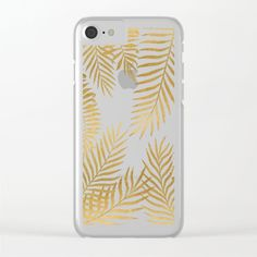 Gold palm leaves Clear iPhone Case by martaolgaklara Palm, Smartphone, Iphone Cases, Leaves, Stylish, Fashion, Moda, Fashion Styles, Fashion Illustrations