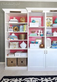 Paint would give dimension and character to the back wall of our hallway bookshelves (but not pink, of course...)