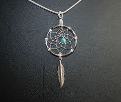 Small Silver Dream Catcher Necklace with Turquoise Chip, Native Americana, tribal, boho, turquoise by OriginalsByCathy on Etsy