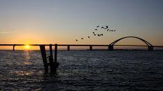 Abends an der Fehmarn-Sundbrücke, Ostsee, Germany