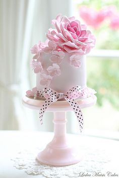 Pink rose and hydrangea   by Leslea Matsis Cakes