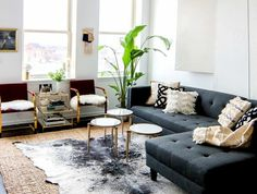 Living Room Furniture Modern elements of a cozy morning + a big surprise! | grey couches, white