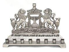 Brass Hanukkah Menorah - Lions
