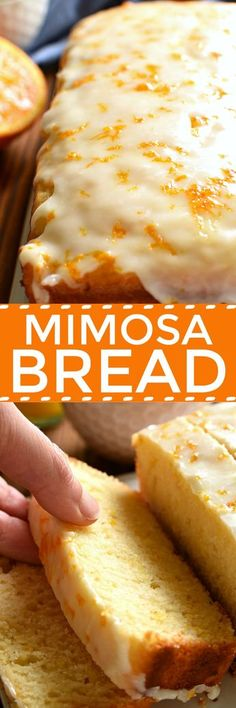 If you love mimosas, this Glazed Mimosa Bread is for you! A delicious quick bread that has all the flavors of your favorite breakfast cocktail, topped with a sweet orange champagne glaze. Perfect for (Favorite Recipes Brunch Food) Breakfast Bread Recipes, Savory Breakfast, Brunch Recipes, Dessert Recipes, Brunch Food, Breakfast Ideas, Sweet Recipes, Breakfast Potluck, Cheap Recipes