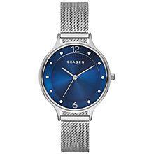 Buy Skagen SKW2307 Women's Anita Stainless Steel Mesh Bracelet Strap Watch, Silver/Blue Online at johnlewis.com