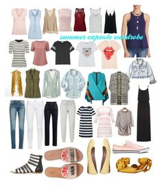 summer capsule wardrobe 1 by caslansis on Polyvore featuring polyvore fashion style Heidi Klein Ted Baker L.L.Bean Free People Joie Aéropostale MadeWorn Balmain Missoni Kenzo rag & bone Pure Collection Theory Calypso St. Barth T By Alexander Wang Étoile Isabel Marant TIBI Hollister Co. Daytrip Gap adidas Yves Saint Laurent RED Valentino Kate Spade Sam Edelman Converse clothing