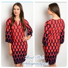 Last One (Size 6) Red & Navy Geometric Ombre Dress 🎉Host Pick Street Style🎉 5-Star rated dress! This lightweight silky tunic dress has a vibrant print and a keyhole neck. It is made of 95% polyester/ 5% spandex for comfort. Only size 6 left. Boutique Dresses