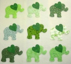 9 Easy to Use Green Elephant Iron On Fabric by MarsyesQuiltShop, $10.95 ... I will ship appliques worldwide!
