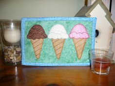 Ice Cream Mug Rug pattern $3.00 on Craftsy at http://www.craftsy.com/pattern/quilting/home-decor/ice-cream-mug-rug---ice-cream-mini-quilt/54018