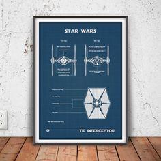 TIE INTERCEPTOR poster star wars printable star wars by PrintPoint