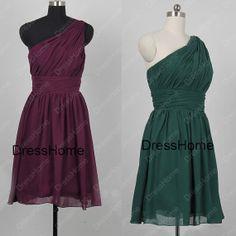 Short Chiffon One-shoulder Bridesmaid Dress - Cheap Hunter Green Bridesmaid Dress / Short Prom Dress on Etsy, $91.99