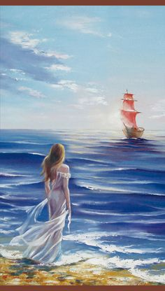 Girl Looking a Ship At The Ocean Canvas Wall Art - Canvas Wall Decor Ocean Canvas, Canvas Wall Art, Watercolor Illustration, Watercolor Paintings, Sailboat Art, Girl In Water, Painting People, Sea Art, Seascape Paintings