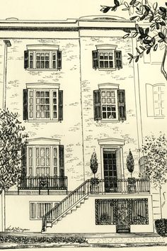 Heather L. Young--  West Harris Street – Historic Savannah  8×12 pen & ink on natural colored paper